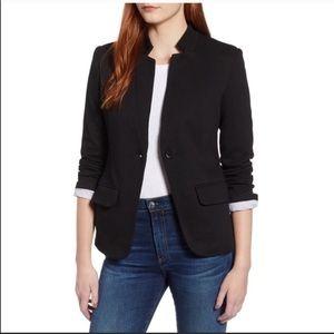 Gibson black notch collar cotton blend blazer NWT